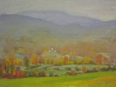 Distant Mountains Painting - Foggy Morning by Len Stomski