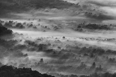 Black And White Photograph - Foggy Morning On The Blue Ridge Parkway by Photography  By Sai