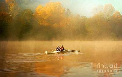 Rowing Photograph - Foggy Morning On The Chattahoochee by Darren Fisher