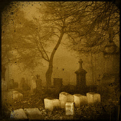 Foggy Necropolis Print by Gothicolors Donna