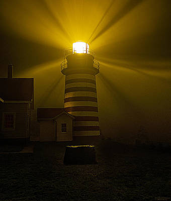 Quoddy Photograph - Foggy Night At West Quoddy Head Light-2 by Marty Saccone