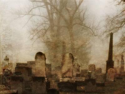 Graveyard Digital Art - Foggy Old Graveyard by Gothicolors Donna Snyder