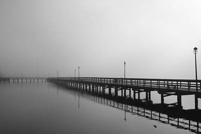 Foggy Pier Print by Kimberly Oegerle