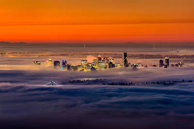 Inversion Photograph - Foggy Sunrise Crop by Alexis Birkill