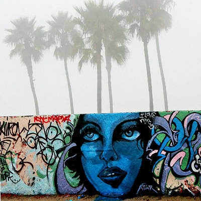 Woman Head Photograph - Foggy Venice Beach by Art Block Collections