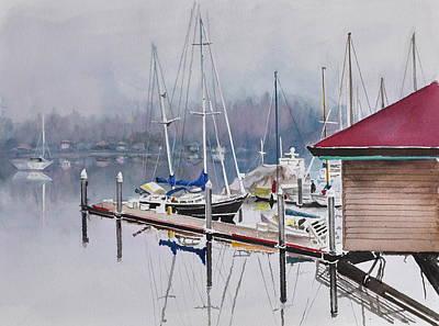 Sea Platform Painting - Foggy Dock by Gertrudes  Asplund