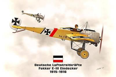 1916 Digital Art - Fokker Eindecker E3 Ww1 Fighter by John Wills