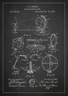 Earth Digital Art - Folding School Globe Patent Drawing From 1887 by Aged Pixel