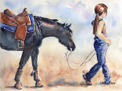 Black Horse And Cowgirl Follow Closely Print by Maria's Watercolor