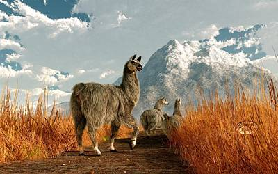 Llama Digital Art - Follow The Llama by Daniel Eskridge