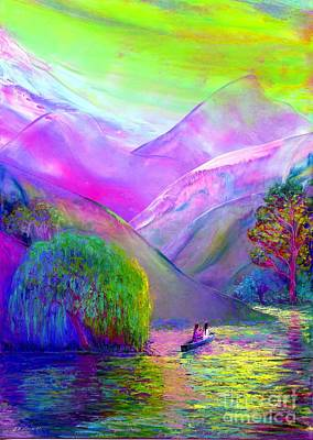 Canoes Painting -  Love Is Following The Flow Together by Jane Small