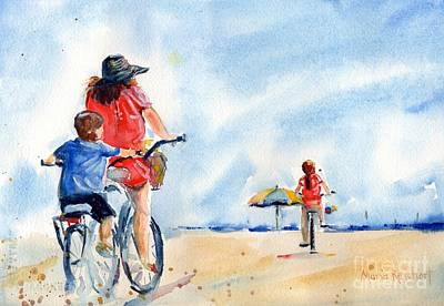 Bike Riding Painting - Following The Leader by Maria's Watercolor