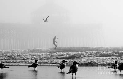 Surfing Photograph - Folly Beach Pier Foggy Day Surf by Dustin K Ryan
