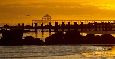 Folly Beach Pier Sunset Print by Dustin K Ryan