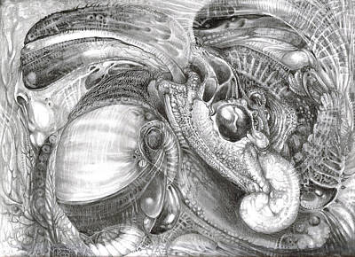 Visionary Art Drawing - Fomorii Aliens by Otto Rapp
