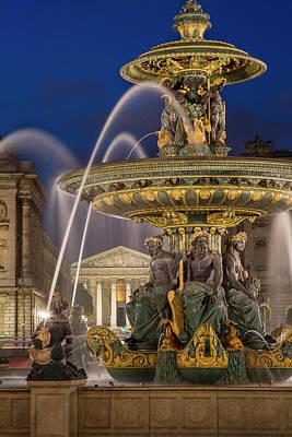 France La Madeleine Photograph - Fontaine Des Fleuves, Fountain by Brian Jannsen