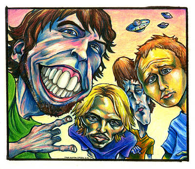 Satire Drawing - Foo Fighters by John Ashton Golden