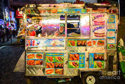 Hot Dogs Photograph - Food Cart In New York City by Diane Diederich