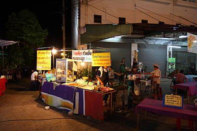 Market Photograph - Food Vendors - Night Street Market - Chiang Mai Thailand - 011315 by DC Photographer
