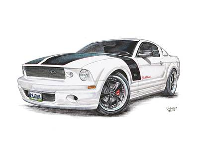 Stallion Drawing - Foose Mustang by Shannon Watts