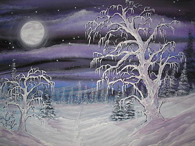 Foot Prints In The Snow Original by Krystyna Spink