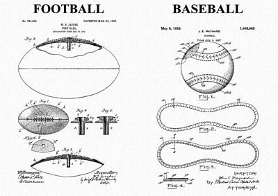 Player Drawing - Football Baseball Patent by Dan Sproul
