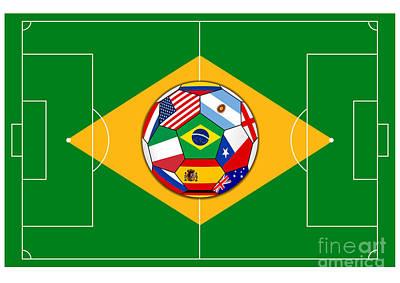 Kicking Digital Art - football field with ball - Brazil 2014 by Michal Boubin