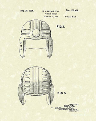 Football Art Drawing - Football Helmet 1936 Patent Art by Prior Art Design