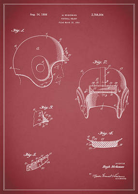 Football Helmet 1954 - Red Print by Mark Rogan