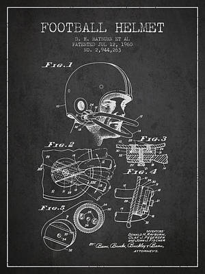 Football Helmet Patent From 1960 - Charcoal Print by Aged Pixel