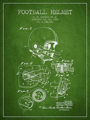 Football Helmet Patent From 1960 - Green Print by Aged Pixel