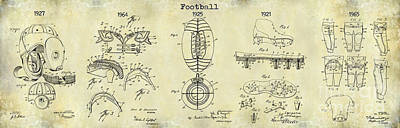 Football Patent History Drawing Print by Jon Neidert