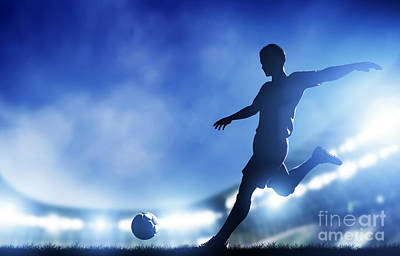 Action Photograph - Football Soccer Match A Player Shooting On Goal by Michal Bednarek