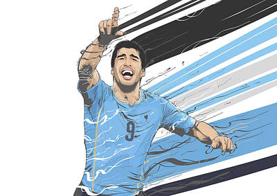 Soccer Digital Art - Football Stars Luis Suarez Uruguay by Akyanyme