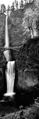 Footbridge In Front Of A Waterfall Print by Panoramic Images