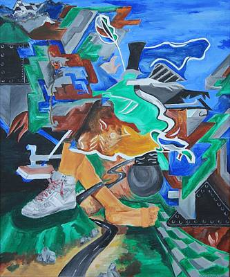 Basketball Abstract Painting - Foothills by Mike Nahorniak