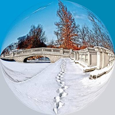 Ice Photograph - Footprints In The Snow - Sphere by Larry Jost