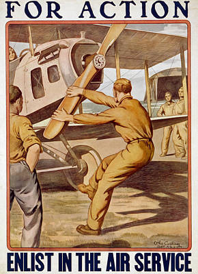 Aviator Drawing - For Action, Enlist In The Air Service by Otho Cushing