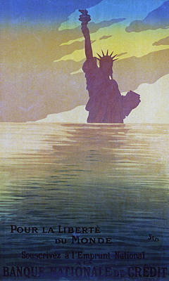 Statue Of Liberty Drawing - For The Freedom Of The World, 1917 by Sem