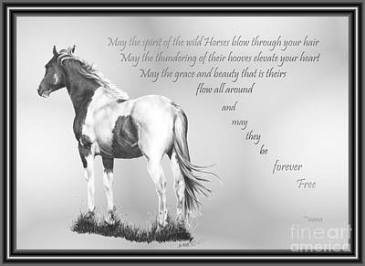 Custom Horse Portrait Drawing - for the Wildies by Marianne NANA Betts