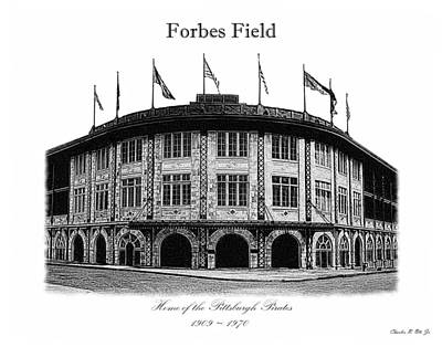 Baseball Stadiums Drawing - Forbes Field by Charles Ott