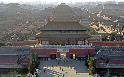 Forbidden City From Above - Beijing China Print by Brendan Reals