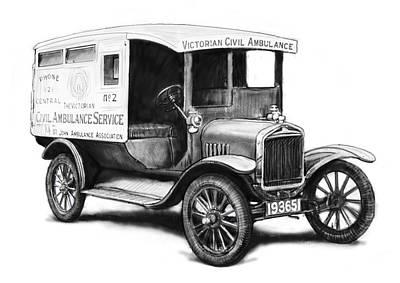 Pop Art Drawing - Ford 1923 Civil Ambulance Car Drawing Poster by Kim Wang