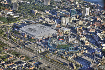Ford Field Comerica Park From Twenty Five Hundred Feet Print by A And N Art