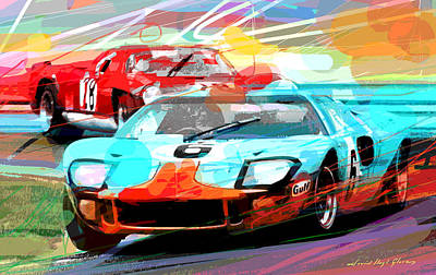 Endurance Painting - Ford Gt 40 Leads The Pack by David Lloyd Glover