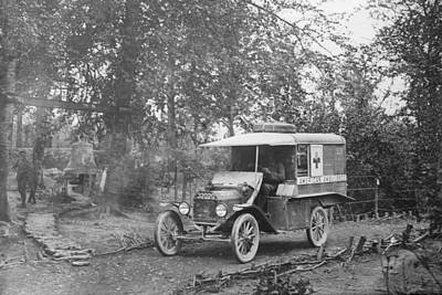 Ford Model T Car Photograph - Ford Model T Ambulance by Library Of Congress