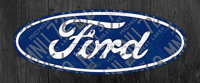Numbered Mixed Media - Ford Motor Company Retro Logo License Plate Art by Design Turnpike