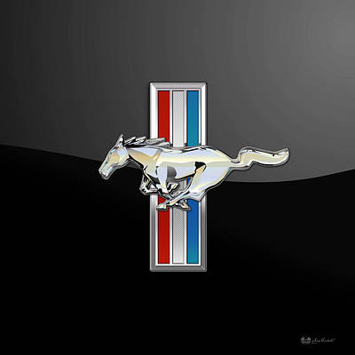 Ford Mustang - Tri Bar And Pony 3 D Badge On Black Print by Serge Averbukh