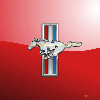 Ford Mustang - Tri Bar And Pony 3 D Badge On Red Original by Serge Averbukh