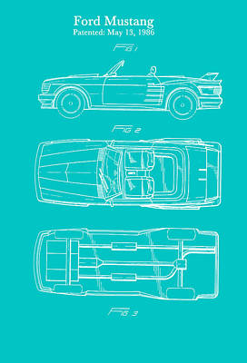 Ford Mustang Automobile Body Patent 1986 Print by Mountain Dreams